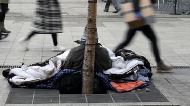 Un sans-abri à Lyon, en janvier 2017.