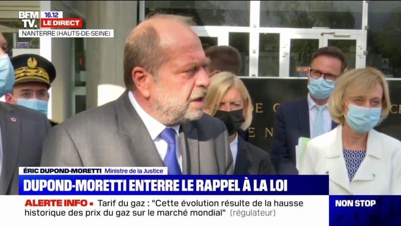 """L'avertissement pénal probatoire entrera en vigueur """"dans toutes ses dispositions à partir du mois de janvier 2023"""", selon Éric Dupond-Moretti"""