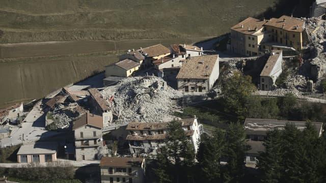 Le village de Castelluccio, en Italie, après un tremblement de terre ayant fait énormément de dégâts.