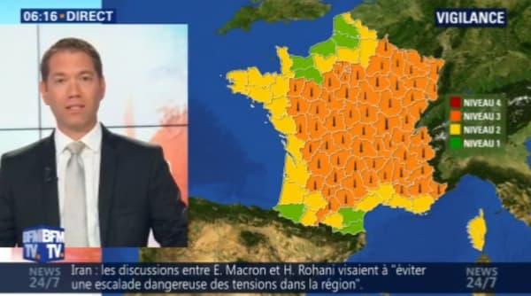 65 départements sont placés en vigilance orange par Météo France.