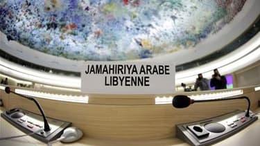 Les sièges vides de la délégation libyenne avant un débat sur la situation en Libye au Conseil des droits de l'homme des Nations unies, à Genève, la semaine dernière. L'Assemblée générale des Nations unies a suspendu mardi à l'unanimité l'appartenance de