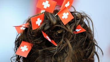 Une supporter suisse pendant l'Euro 2008., à Bâle.