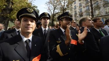 Des pilotes Air France lors d'un mouvement de grève en 2014