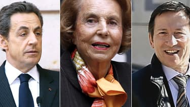Nicolas Sarkozy, à gauche, Liliane Bettencourt, au centre, et le juge Gentil à droite, sont les principaux protagonistes de l'affaire.