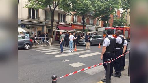 La scène de l'agression, ce mardi 4 juin 2019, rue de la Convention à Paris.