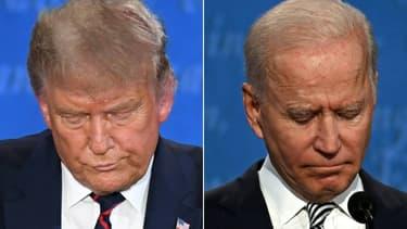 Donald Trump à gauche et Joe Biden à droite le 29 septembre 2020 à Cleveland lors du premier débat présidentiel