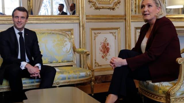 Emmanuel Macron et Marine Le Pen à l'Elysée.