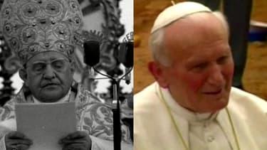 Le pape Jean XXIII (g.), qui a exercé cette fonction entre 1958 et 1963 et son successeur Jean-Paul II, pape entre 1978 et 2005.