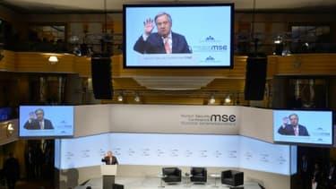 Le secrétaire général des Nations unies, Antonio Guterres, prenant la parole devant la conférence de sécurité de Munich. Le 16 février 2018.