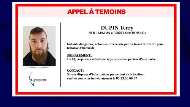 L'appel à témoins pour retrouver Terry Dupin, le forcené recherché en Dordogne