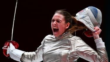 La sabreuse Manon Brunet lors des championnats du Monde à Wuxi en Chine le 27 juillet 2018