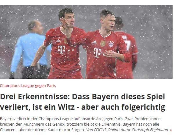 """""""La défaite du Bayern est une blague - mais logique"""", selon Focus Online"""