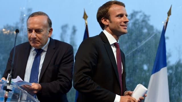 Pierre Gattaz et Emmanuel Macron, en août 2015, à l'Université d'été du Medef.
