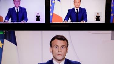 Emmanuel Macron lors de son allocution télévisée ce mardi soir.