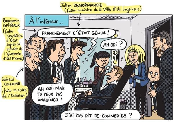 Emmanuel Macron après le débat d'entre-deux tours, entouré de sa garde rapprochée