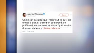 Le tweet de Jean-Luc Mélenchon , ce lundi soir.