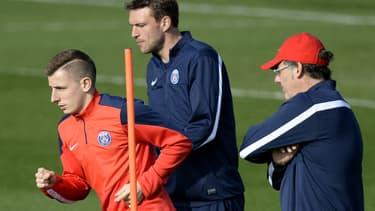 Lucas Digne et Laurent Blanc au PSG en 2014
