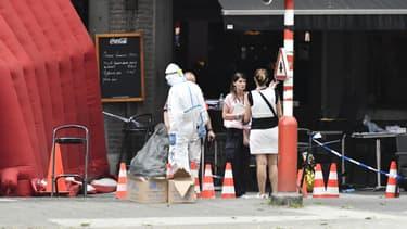 Sur les lieux de l'attaque, à Liège, le 29 mai 2018.