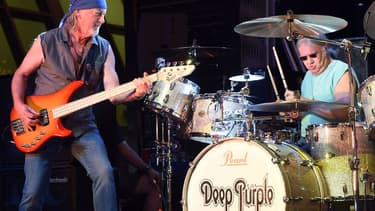 Roger Glover et Ian Paice, de Deep Purple, en concert à Las Vegas en août 2014