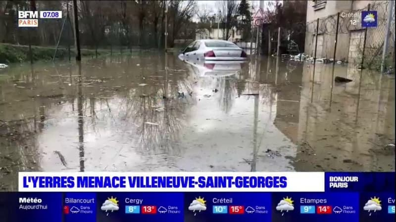 Crues: l'Yerres menace Villeneuve-Saint-Georges