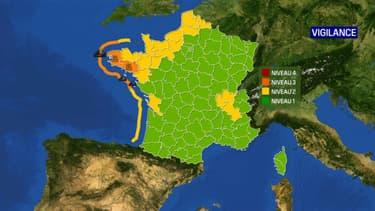 Trois départements de l'Ouest placés en vigilance orange, le 14 janvier 2020.