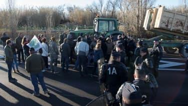 Des éleveurs de la FNSEA manifestent à Arles le 12 février 2018