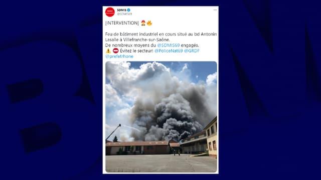 Un incendie s'est déclaré dans une carrosserie à Villefranche.