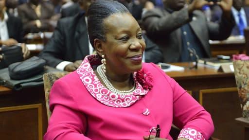 La nouvelle présidente de transition, Catherine Samba-Panza, après son élection, le 20 janvier, à Bangui.