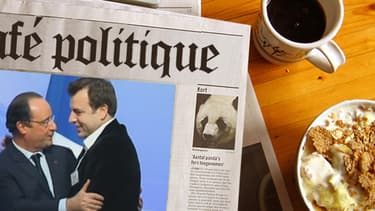 """François Hollande a donné l'accolade au leader du mouvement des """"pigeons"""", à San Francisco mercredi."""