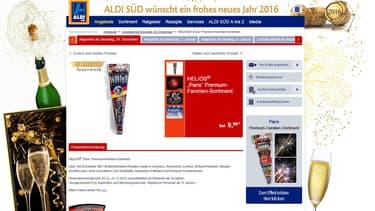 """Aldi a mis en vente en Allemagne des pétards et des feux d'artifice du nouvel an baptisés """"Paris"""" (illustration)."""