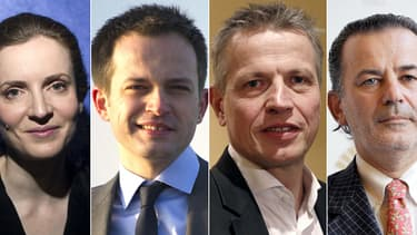 Les quatre candidats UMP en lice pour les municipales à Paris, Nathalie Kosciusko-Morizet, Pierre-Yves Bournazel, Franck Margain et Jean-François Legaret