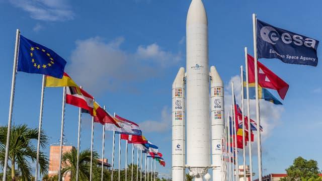 Entrée du siège d'Arianespace à Kourou, en Guyane.