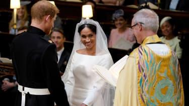 Le prince Harry et Meghan Markle durant leur cérémonie de mariage à Windsor