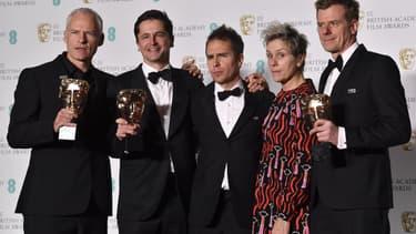 """L'équipe du film """"Three Billboards"""" aux Bafta le 18 février 2018 à Londres"""