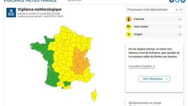 Carte de vigilance de Météo France mise à jour vendredi soir à 22h.