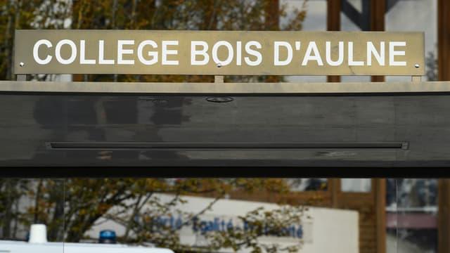 Le collège du Bois d'Aulne à Conflans-Sainte-Honorine, au lendemain de l'attentat qui a coûté la vie à l'enseignant Samuel Paty