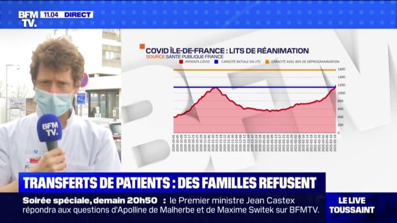 Stéphane Gaudry, anesthésiste-réanimateur à l'hôpital Avicenne de Bobigny, constate un