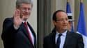 François Hollande et Stephen Harper, à l'Elysée. Le Premier ministre Canadien , partisan de la rigueur budgétaire, et le Français, chantre de la croissance, se sont rencontrés jeudi à Paris pour préparer notamment le sommet du G20 de la fin du mois au Mex