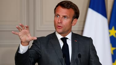 Emmanuel Macron lors d'une conférence de presse à l'Elysée, le 18 mai 2020