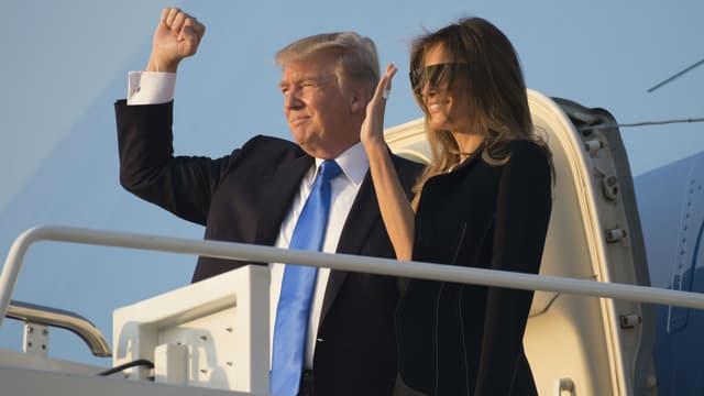 Le couple Trump avant son décollage pour Paris.