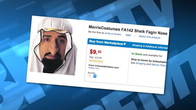 Un faux nez de cheikh arabe était proposé à la vente.