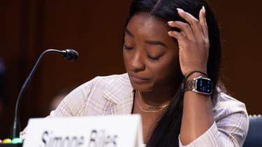Simone Biles face au Sénat américain, à Washington le 15 septembre 2021
