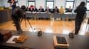 Le siège vide de l'accusé, lors de son procès à Neubrandenbourg, en Allemagne, le 14 mars 2016.
