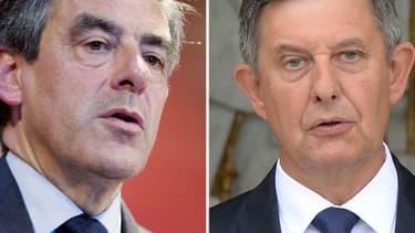 L'ancien Premier ministre François Fillon (à gauche) et le secrétaire général de l'Elysée Jean-Pierre Jouyet (à droite).