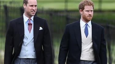 Les prince William et Harry, au mariage de Pippa Middleton, le 20 2017.