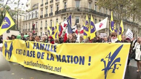 Dans les rangs de la manifestation anti-mariage gay, l'Action française.