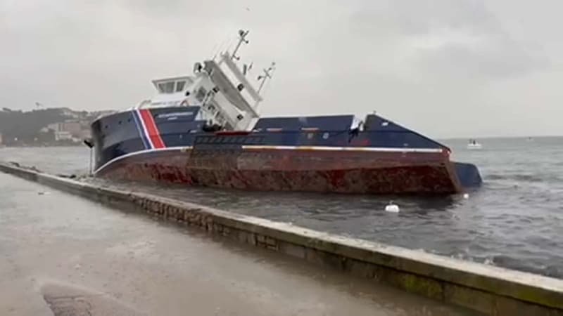 Tempête Bella: un bateau de 36 mètres s'échoue à Ajaccio, 6000 litres de fuel déversés en mer