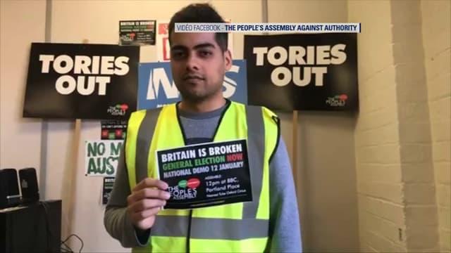 Un gilet jaune britannique (Capture d'écran Facebook du groupe The People's Assembly against authority)