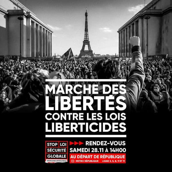 """L'appel à manifester du collectif de la coordination """"Stop loi Sécurité globale""""."""