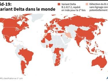 Le variant Delta dans le monde (photo d'illustration)